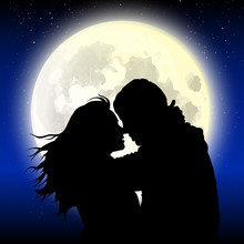 Love Couple Night With Full Moon