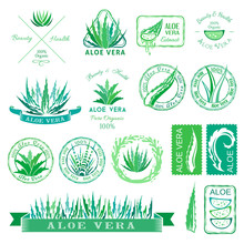 Aloe Vera Design Elements. Badges, Banners, Icons And Other Decorations. Stencil Style.