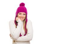 Beautiful Blonde Teenage Girl In Pink Knitted Beanie Hat