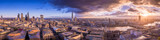 Fototapeta Londyn - Panoramic skyline of the east and south part of London with beautiful clouds at sunset. This wide view includes the bank district, the Tower Bridge, Shard tower, Tate Modern Museum and London Eye