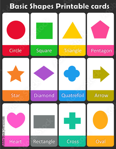 Geometric shapes flash cards плакат