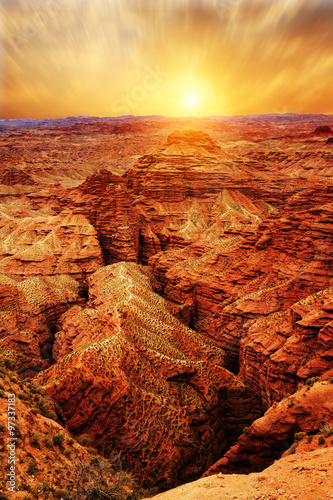 sunrise,sunset skyline and landscape of red sandstone