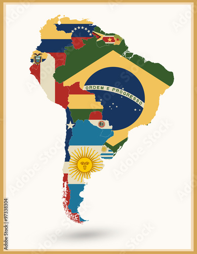 South America Map With Flags And Vintage Colors