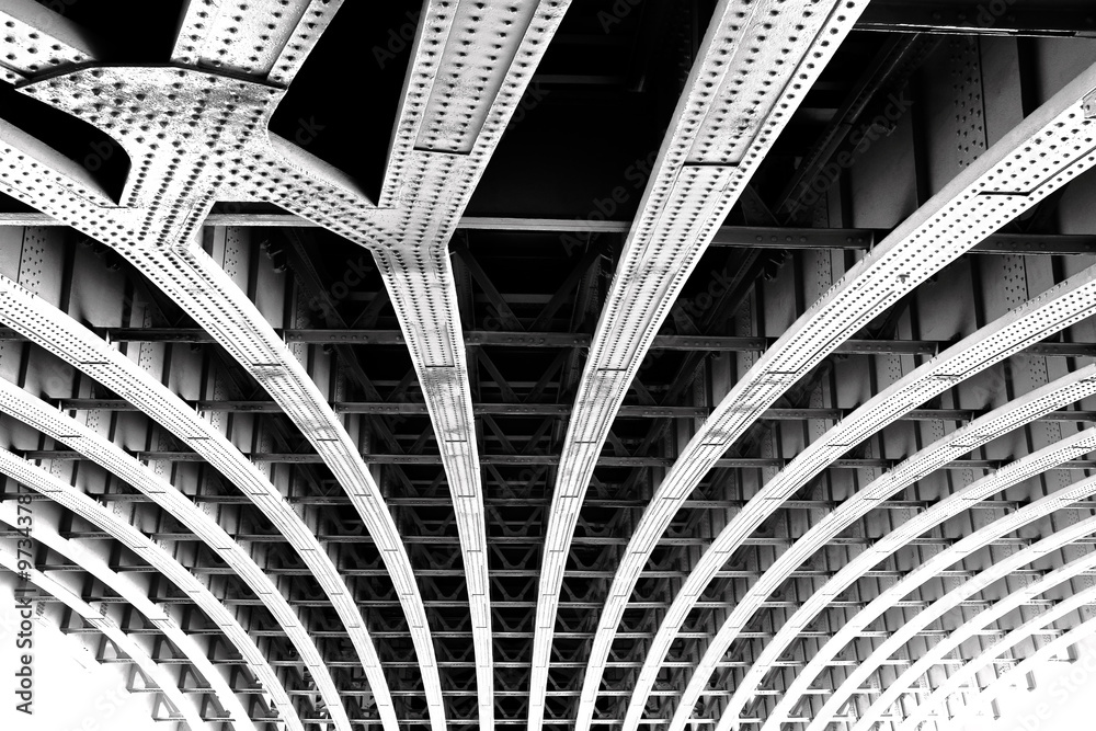 Fototapeta Carcass of the bridge. Technogenic abstract background