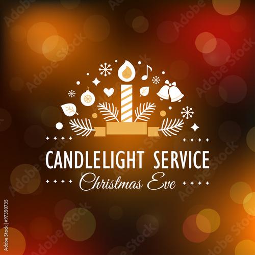 Fotografía  Candlelight Christmas Eve Service Invitation. Blurry Background