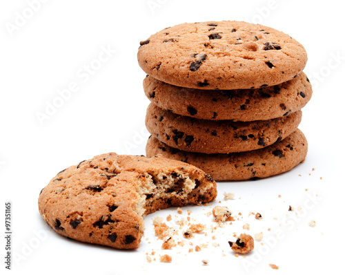 Tuinposter Koekjes Chocolate chip cookies isolated