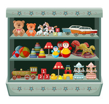 Vintage Toys Shop. Shelves. Vector Illustration