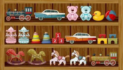 FototapetaVintage toys on the shelf. Vector
