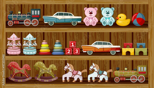 Vintage toys on the shelf. Vector - 97355948