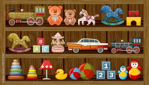 Shop of vintage toys. Vector #97355967