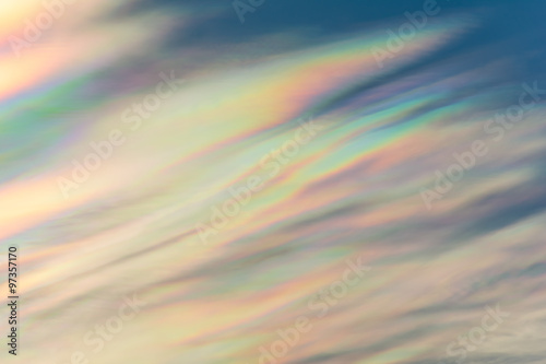 Fototapeta Cloud iridescence : diffraction phenomenon produce very vivid color and make cloud shine like a corona