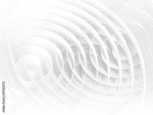 Valokuva  White 3d spirals with soft shadows, abstract
