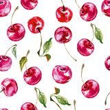 Watercolor cherry. Seamless background . Vector illustration - 97363331
