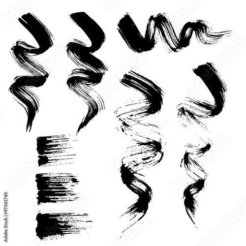 Valokuva  Vector set of grunge brush strokes