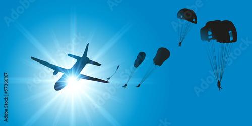 Canvas Print AVION Parachutistes