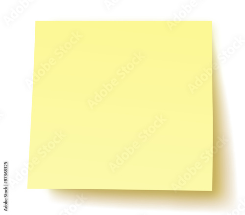 Quadratischer, unbeschrifteter Postit-Zettel / gelb, Vektor, freigestellt Canvas Print