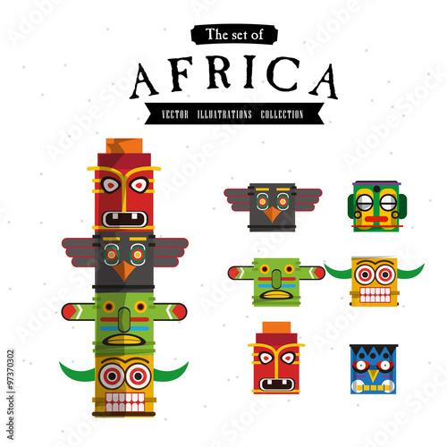 African Totem - vector Wall mural