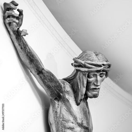 Fotografie, Obraz  Cristo Crocifisso su muro bianco