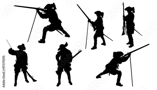 Fotografie, Obraz musketeer with musket silhouettes