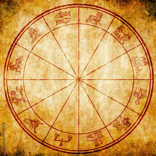 Astrology Chart With All Zodiac Signs On Grunge Background Buy