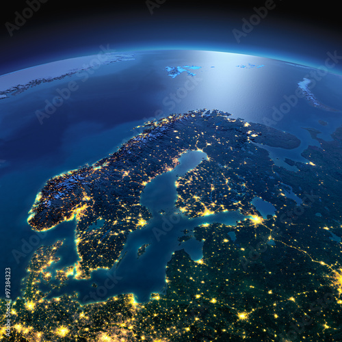 Cuadros en Lienzo Detailed Earth. Europe. Scandinavia on a moonlit night