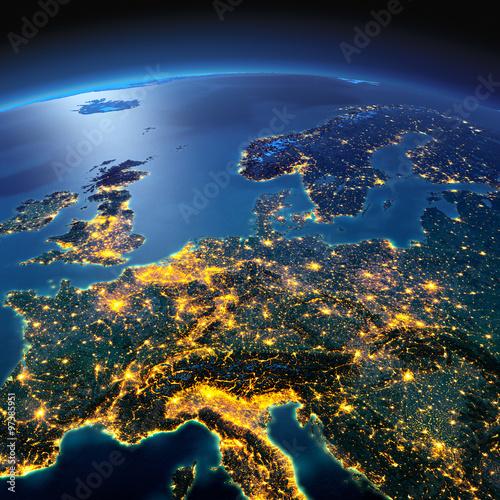 Szczegółowa Ziemia. Europa Środkowa w księżycową noc