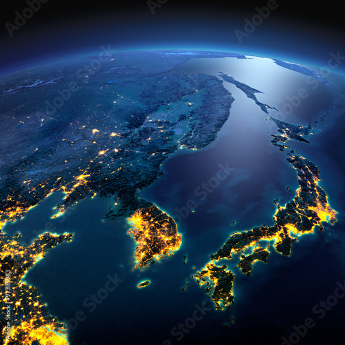 Fotografía  Detailed Earth. Korea and Japan on a moonlit night