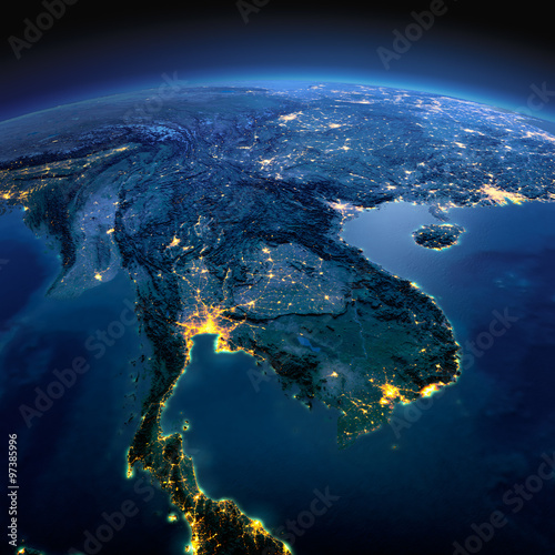 Detailed Earth  Indochina peninsula on a moonlit night - Buy