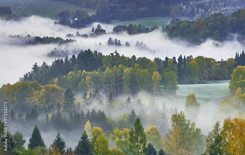 Foto op Aluminium Nachtblauw Foggy morning in the landscape