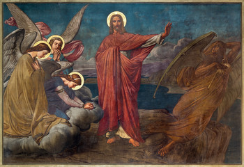 Fototapeta Do kościoła Antwerp - Fresco of Temptation of Jesus in Joriskerk or st. George church