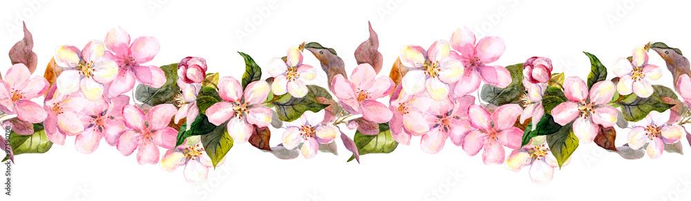 Fototapeta Seamless repeated floral border - pink cherry (sakura) and apple flowers. Watercolor