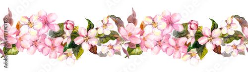 Fototapeta Seamless repeated floral border - pink cherry (sakura) and apple flowers. Watercolor  obraz