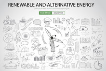 Renewable And Alternative Energy Concept With Doodle Design Sty