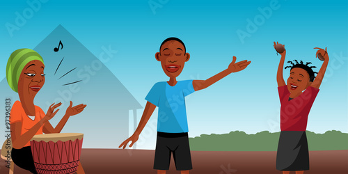Fotografie, Obraz  cartoon vector illustration of African villagers singing