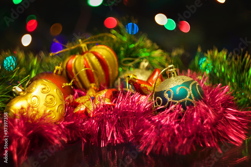 Fototapety, obrazy: Christmas New Year's toys on a blurred background of Christmas t