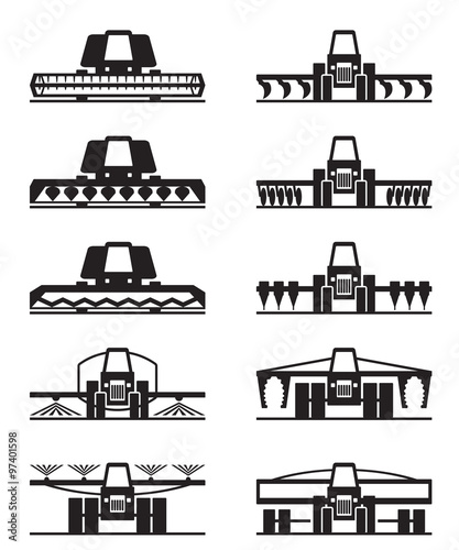 Agricultural machinery icon set - vector illustration Wall mural