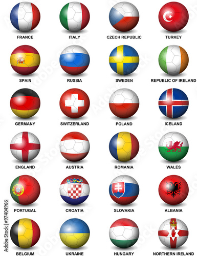 Photo  soccer balls concerning flags of  European countries participating to the final