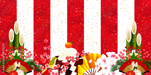 正月 紅白 新年 背景 Fototapete