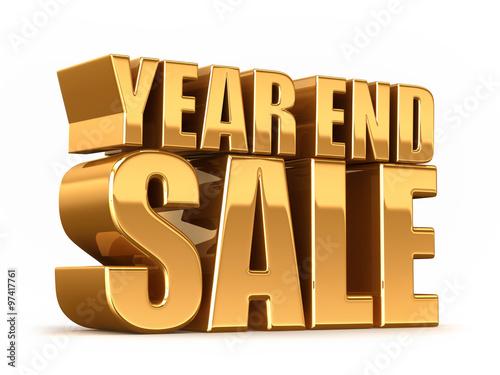 Fotografía  3D render of YEAR END SALE word in gold