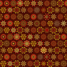 Seamless Red And Gold Background