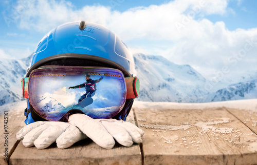 Fotobehang Wintersporten Colorful ski glasses and winter gloves,winter sport concept