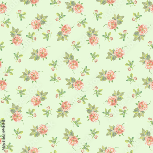 Fotografia  Faded green seamless floral pattern with tiny roses