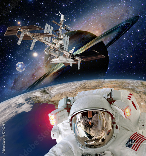 Deurstickers Nasa Astronaut helmet spaceman extraterrestrial saturn planet sci fi space travel station. Elements of this image furnished by NASA.