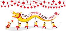 Chinese New Year, Dragon Dancing, Traditional Celebration, China