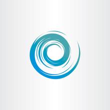 Tornado Blue Water Wave Spiral Vector Circle Background