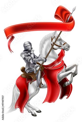 Plakat Średniowieczny sztandar rycerza na koniu