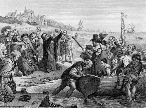 An engraved illustration of the Pilgrim Fathers leaving England, from a Victoria Wallpaper Mural