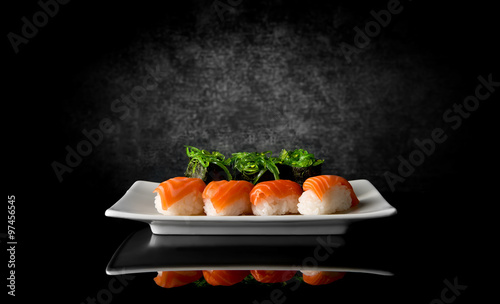 Sushi on black
