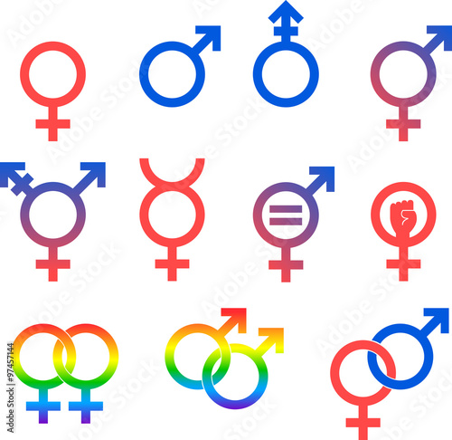 Gender Symbols Set Of Vector Graphic Icons Representing The