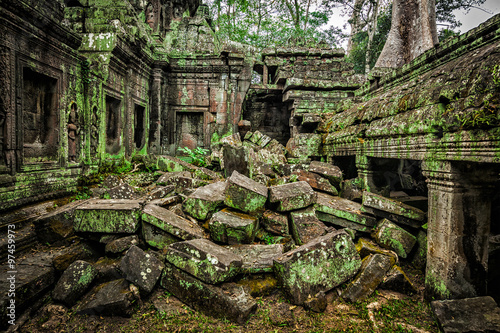Ancient ruins of Ta Prohm temple, Angkor, Cambodia Canvas Print